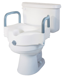 Raised Toilet Seat with Padded Arms, Locking